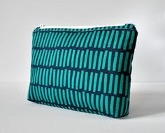 Padded aqua green navy blue line block travel make up pouch cosmetics bag modern print in large. by CuriousMissClay on Etsy
