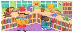 Con esta imagen podemos dar a conocer a los niños y niñas qué es una biblioteca. Así, podemos fomentar, no sólo el conocimiento de este espacio, sino también el gusto e interés por la lectura.