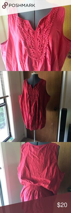 Red Eyelet Lace Top Has small hole in eyelet trim but no other rips or stains. Cotton Lane Bryant Tops Blouses