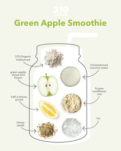 Excite your taste buds with this sweet and sour Green Apple Smoothie! It's yummy, satisfying and full of whole foods for a nourishing breakfast, lunch or dessert. Apple Smoothie Recipes, Apple Smoothies, Protein Powder Recipes, Protein Shake Recipes, Freezing Apples, Whole Food Recipes, Healthy Recipes, Frozen Cauliflower Rice, Sour Taste