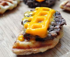 Waffled Cheeseburger  The only thing better than a regular cheeseburger is a waffled cheeseburger. A thin patty will cook in under 5 minutes on the waffle iron and the cheese really melts into all the crevices.