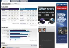 NFL Game center page