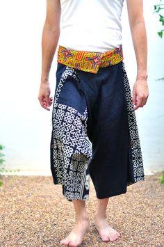 Thai fisherman pant men Thai Style Black and by SiamTrendy