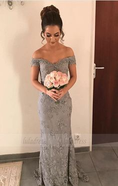 7bcf63653f2 Elegant Beaded V-neck Gray Lace Evening Dresses