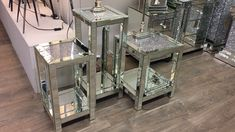 Diamond Crush Mirrored Tables - Very sparkly silver mirrored useful display tables. The Diamond Crush collection has been designed to create optimum . Glitter Furniture, Glass Furniture, Furniture Decor, Diamond Furniture, Antique Furniture, Mirrored Bedroom Furniture, Luxury Furniture, Mirrored Table, Modern Furniture