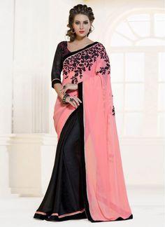 Black and Pink Lace Crepe Jacquard Trendy Saree