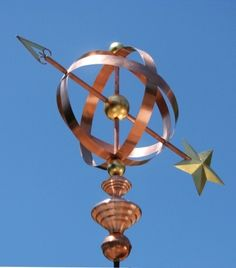 Armillary Sphere Weathervane by West Coast Weathervanes Barn Cupola, Weather Vain, Yard Sculptures, Wind Direction, Metal Barn, Wooden Projects, Copper And Brass, Antique Metal, Cool Items