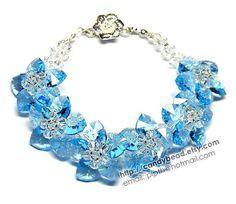 Aquamarine Flowers Swarovski Crystal Bracelet by by candybead, $45.00