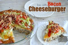 Low Carb Bacon Cheeseburger Pie - CreativeMeInspiredYou.com pie, pie day, pi day, 3.14, CarbQuik, bacon, cheese, dinner, supper, easy dinner, quick dinner, low-carb