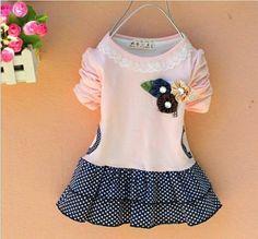Baby Girl Toddler Cute Polka Dot Summer Dress With Flower Badge