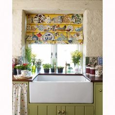 "Pretty kitchen roman shade valance.  Fabric: .   ""The Dresser"" designed by Emma Bridgewater for Sanderson"
