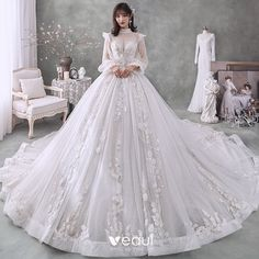 Victorian Style Ivory Bridal Wedding Dresses 2020 Ball Gown See-through High Neck Puffy Long Sleeve Backless Appliques Lace Beading Pearl Glitter Tulle Cathedral Train Ruffle Princess Wedding Dresses, Bridal Wedding Dresses, Lace Wedding Dress, Dream Wedding Dresses, Ball Dresses, Ball Gowns, Robes Quinceanera, Fairytale Dress, Fantasy Dress