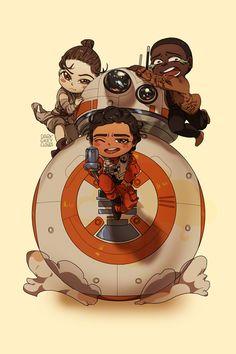 Rey, Finn, Poe & BB-8: Chibi Edition