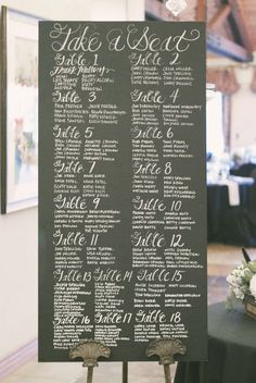 Chalkboard Seating Chart is hand made from re-purposed wood and vintage materials. Chalkboard Wedding, Wedding Signage, Chalkboard Signs, Chalkboards, Large Chalkboard, Chalkboard Paint, My Perfect Wedding, Our Wedding, Dream Wedding