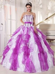 Ruffled Strapless Appliques Quinces Dresses in White and Purple