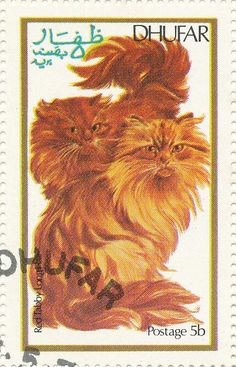 Dhufar 1974 Cat Stamps - Red Tabby Longhair