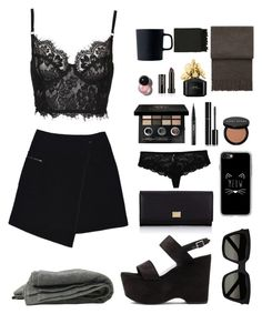 """Black is the new black"" by beautiful-fantasy ❤ liked on Polyvore featuring MARC CAIN, Yves Saint Laurent, Bobbi Brown Cosmetics, Kat Von D, Royal Doulton, Marc Jacobs, Chanel, Dolce&Gabbana, Casetify and Elvang"