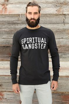 SPIRITUAL GANGSTER STACKED LONG SLEEVE TEE VINTAGE BLACK | Spiritual Gangster $54