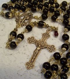 Rosary Handmade St Michael The Archangel 8mm Black Onyx ~ Antique Bronze Design