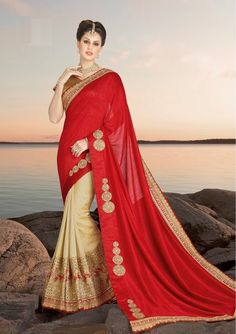Price @6142.00 INR  Colour :  Red & Beige Saree Fabric : Georgette & Silk Blouse Fabric : Brocade           Work :  Heavy Embroidery On Patli & Patch Work In Pallu Stone Work