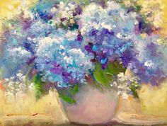 Blue Rhapsody © - Still Life, Oil Painting, Blue Hydrangeas | Painting A Day: Small Masterpieces by Tina Wassel Keck ©