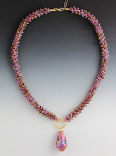 """Cosmos Collection """"Dawn""""-- Art glass & hand-woven Japanese glass magatama & seed beads; gold-filled findings & clasp"""