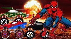 Spiderman Destroy The City , Monster Trucks for Children , Vehicles for ...