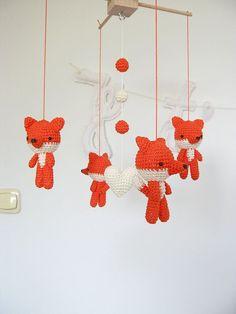 Items similar to Fox Baby Mobile, Woodland Mobile Nursery Decor, Wild Animal, Amigurumi Crochet Fox on Etsy Mobiles En Crochet, Crochet Mobile, Fox Nursery, Woodland Nursery Decor, Woodland Mobile, Crochet Fox, Baby Girl Crochet, Craft Fairs, Knitting Projects