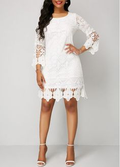 T hree Quarter Sleeve White Round Neck Lace Dress Lace Sheath Dress, Lace Midi Dress, Sheath Dresses, Tight Dresses, Casual Dresses, Dresses Dresses, Summer Dresses, High Low Lace Dress, Club Party Dresses