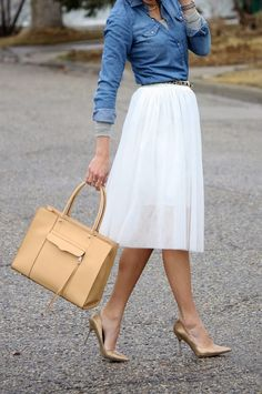 glam skirt and heels balanced out with a more casual top