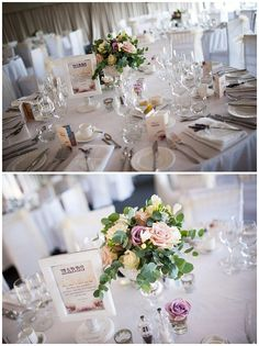 Chillington Hall Wedding Flowers ~ Ivory and Dusky Pink Roses with Candelabra Centrepieces