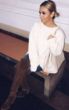 #winter #outfits white long-sleeve shirt, blue jeans and brown knee-high boots outfit