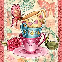 Vintage Tea Cups - Digital Stamp - $3.00 : Digital Stamps, Scrapbooking, Crafts, Artisan Resources, cardMaking, Paper Crafts, Digital Crafting by The Paper Shelter