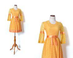 60s Party  Dress / Orange Dress / Lace Dress / by MinxouriVintage