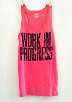 "Large Coral Women's ""Work In Progress"" Fitness / Workout / Crossfit Racerback Tank Top"