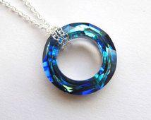 LUCKY SALE Halo - Bermuda Blue Swarovski Cosmic crystal necklace in silver
