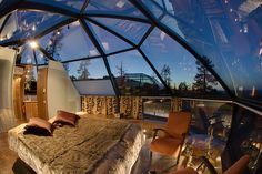 Glass Igloos of the Kakslauttanen Hotel in Saariselka (Finland) - I'd give an arm and a leg to stay here .