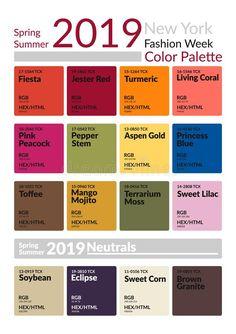 New York Fashion Week Spring Summer 2019 Color Palette. Colors of the Year. Pale… New York Fashion Week Spring Summer 2019 Color Palette. Colors of the Year. Palette fashion colors guide with named color swatches.