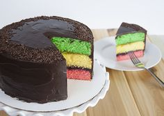 Tricolor Cake - just like the Italian tricolor or rainbow cookies you see in the bakery, but in cake form!