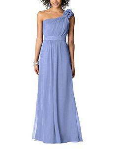 Ssyiz Womens Elegant Flower One Shoulder Long Bridesmaids Party Dress >>> Want to know more, click on the image.