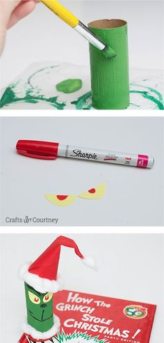 Toilet Paper Roll Grinch - Fun and easy kids Christmas Craft