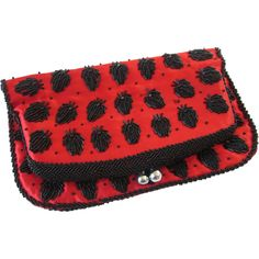 Beaded Clutch Purse Vintage 1960s Hong Kong Hand Beaded Red Black Satin
