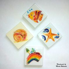 Some of the fridge magnets I've made for the market. Bright and positive colours and all the things I like. www.martawalenda.com
