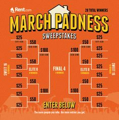 Enter Rent.com's March Padness Sweepstakes for 28 chances to win a Visa gift card!