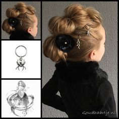 Topsy tail faux mohawk braid with cool hair rings from the webshop www.goudhaartje.nl (worldwide shipping). Hairstyle inspired by: @2littlegirls_hairstyles (instagram) #halloweenhair #spider #snake #hairrings #fauxmohawk #fauxhawk #coolhair #stunninghair #hairstylesforgirls #hair #hairstyle #hairstyles #longhair #hairtrends #braidtrends