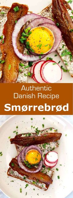 Smorrebrod,'butter and bread' in Danish, is an open faced sandwich prepared with dense rye bread and toppings that can include cold cuts, fish or cheese. #Danish #Denmark #DanishCuisine #Scandinavia #ScandinavianCuisine #WorldCuisine #196flavors