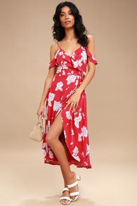 06e0014375c48 Bouquet Blooms Red Floral Print Off-the-Shoulder Wrap Dress Jarná Nóda,  Dámska
