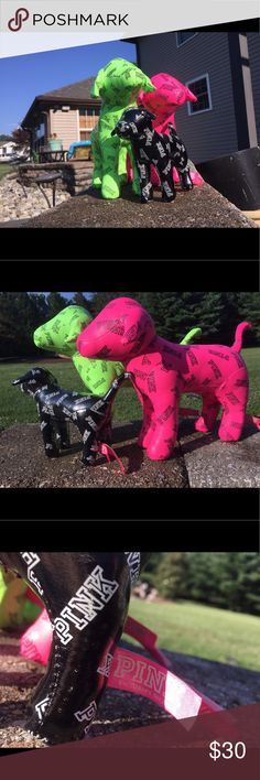 3 Victoria's Secret Dogs I have 2 jumbo and 1 mini Victoria's Secret dogs. They are brand new and they have the pink tag on them. The green and black are glossy while the pink dog is matte. PINK Victoria's Secret Other