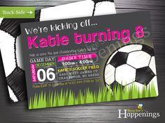 Soccer Birthday Invitation Girl Soccer by BusyBeesHappenings