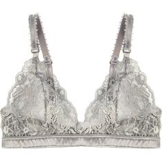 Stella McCartney Bonnie Sizzling lace and satin soft-cup bra (935 ARS) ❤ liked on Polyvore featuring intimates, bras, underwear, lingerie, tops, stone, lace lingerie, lingerie bra, gray bra and lace balconette bra